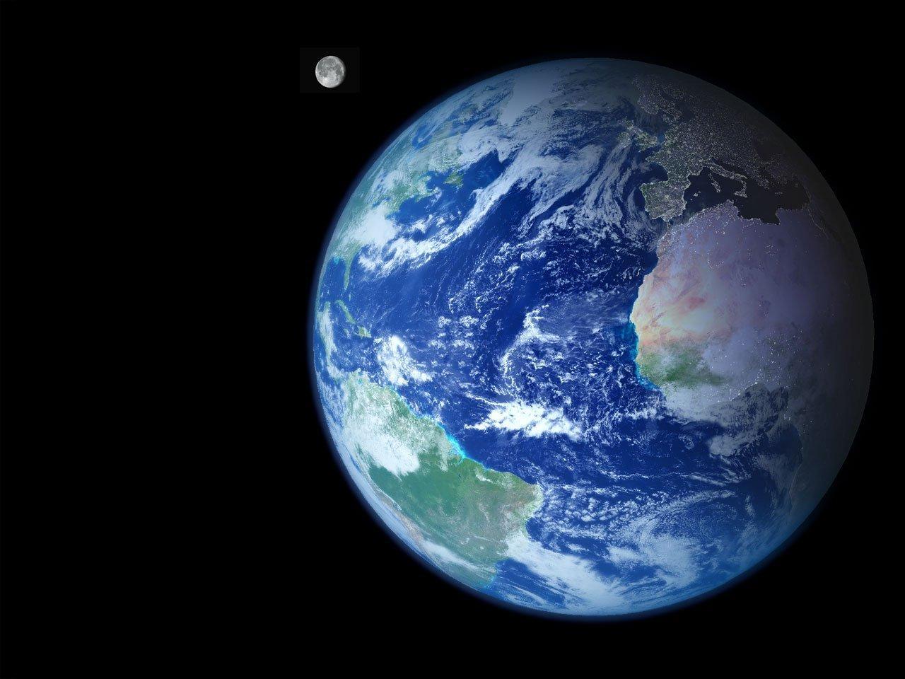 Описание земля и луна